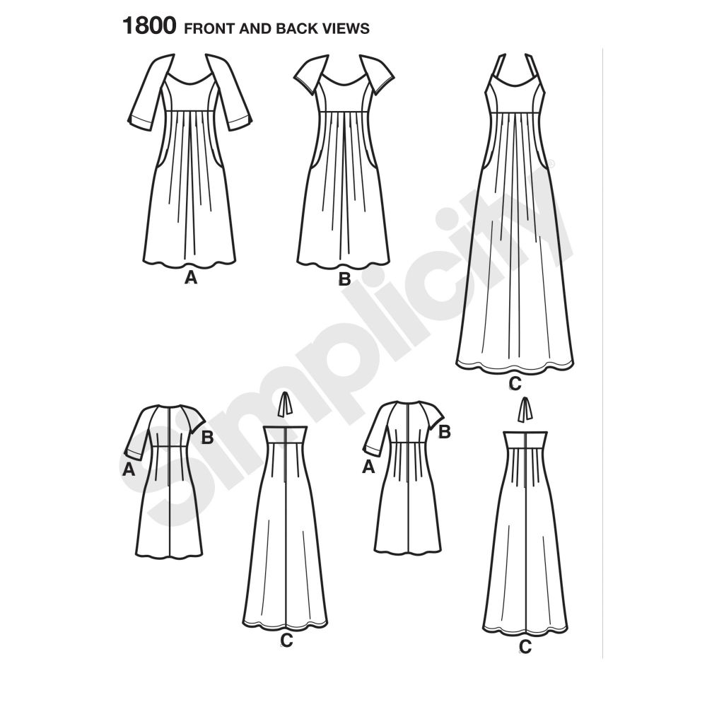 simplicity-dresses-pattern-1800-front-back-view