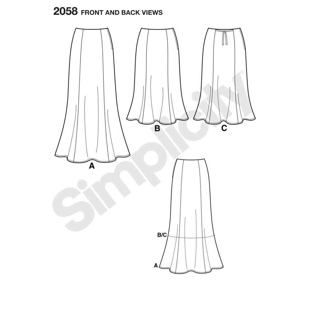simplicity-skirts-pants-pattern-2058-front-back-view