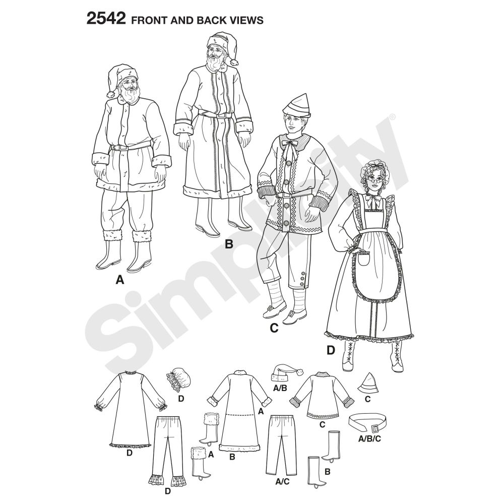 simplicity-costumes-pattern-2542-front-back-view
