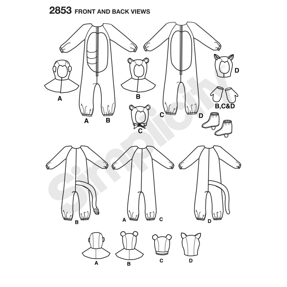 simplicity-costumes-pattern-2853-front-back-view