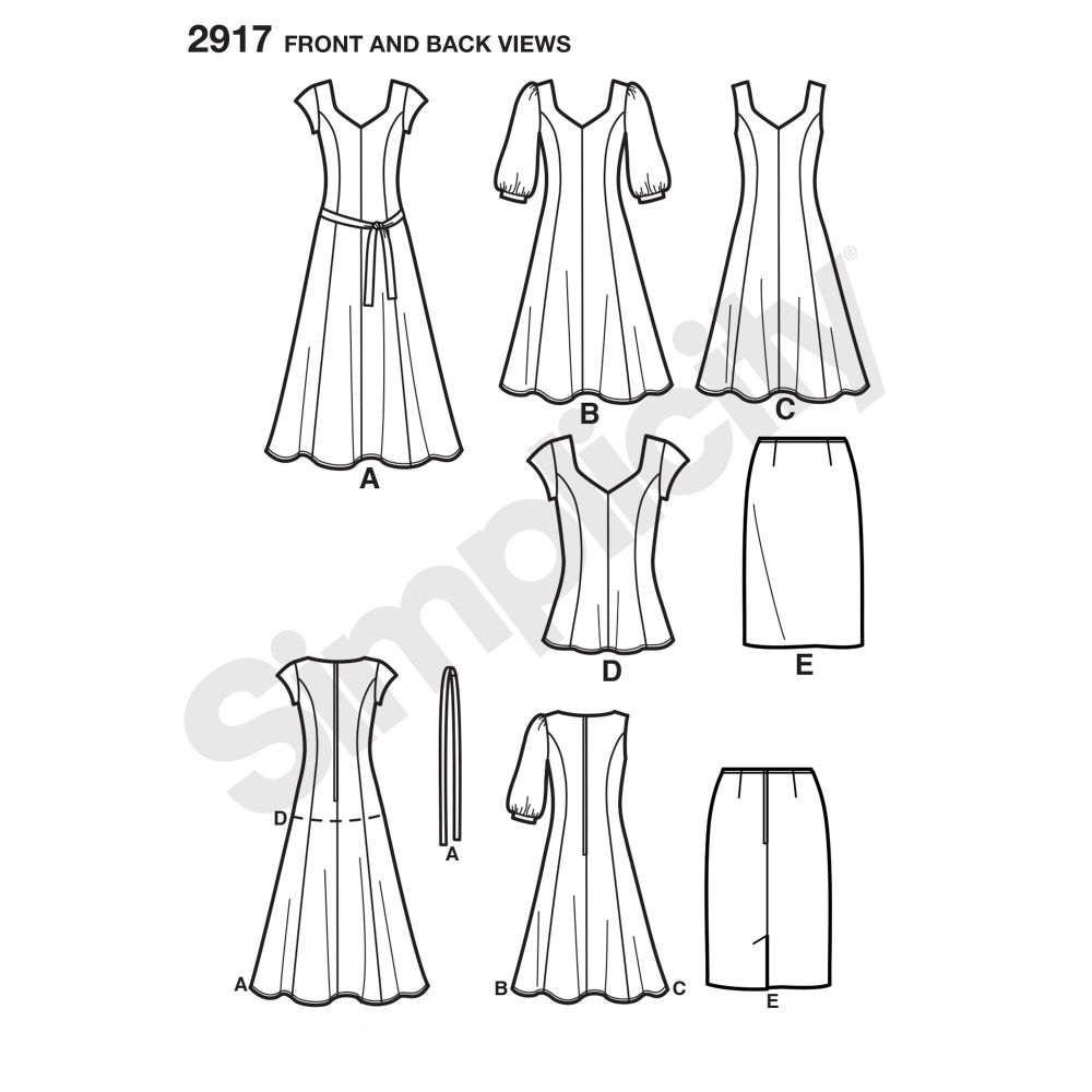simplicity-dresses-pattern-2917-front-back-view