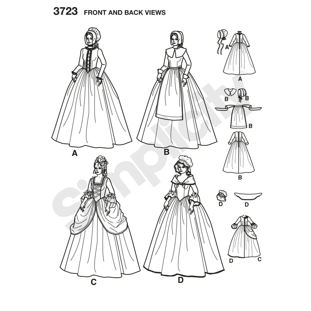 simplicity-costumes-pattern-3723-front-back-view