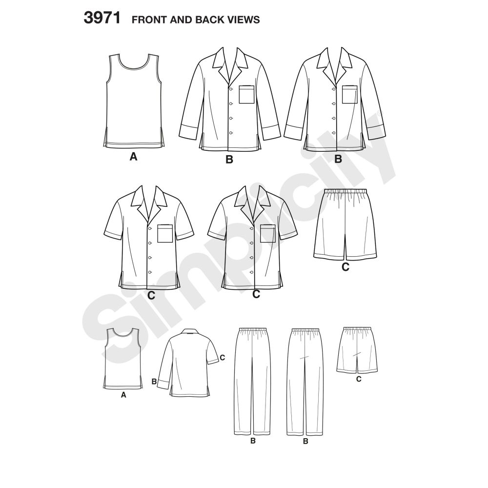 simplicity-unisex-scrubs-pattern-3971-front-back-view