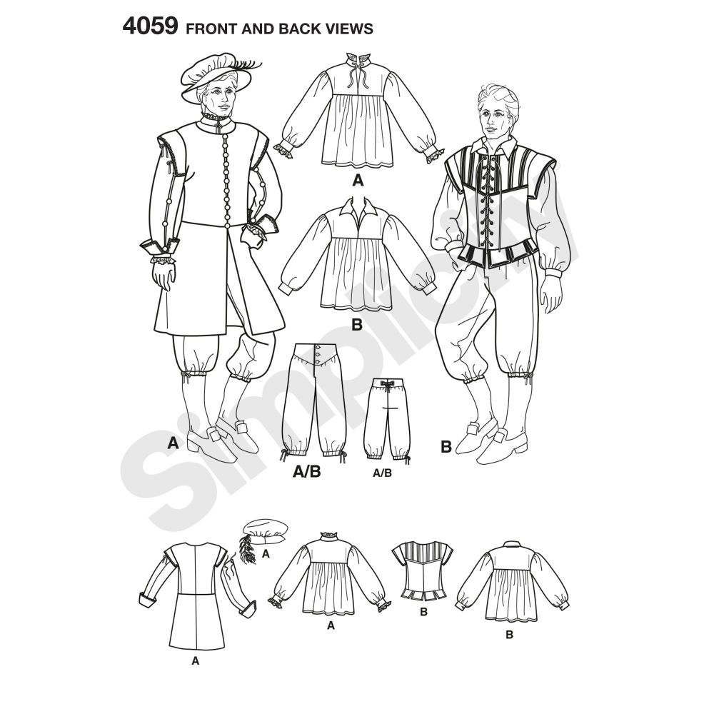 simplicity-costumes-pattern-4059-front-back-view