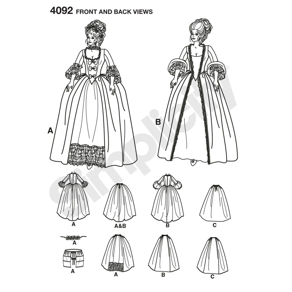 simplicity-costumes-pattern-4092-front-back-view