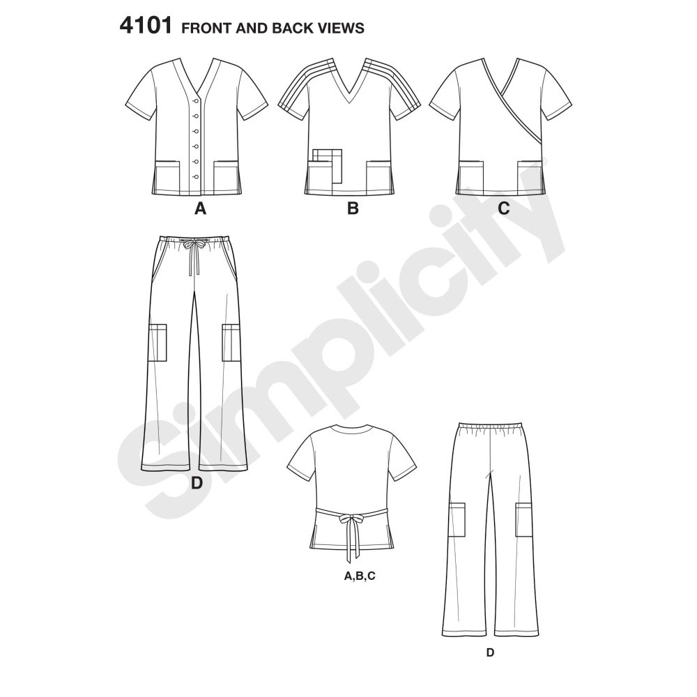 simplicity-unisex-scrubs-pattern-4101-front-back-view