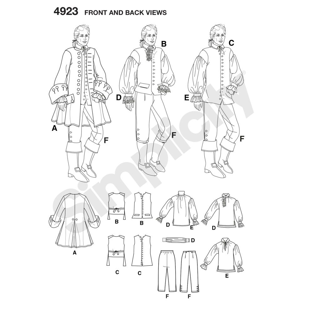 simplicity-costumes-pattern-4923-front-back-view