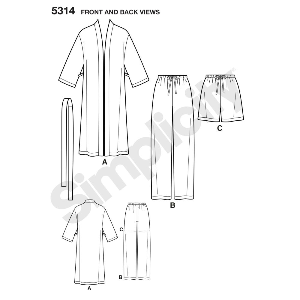 simplicity-unisex-scrubs-pattern-5314-front-back-view