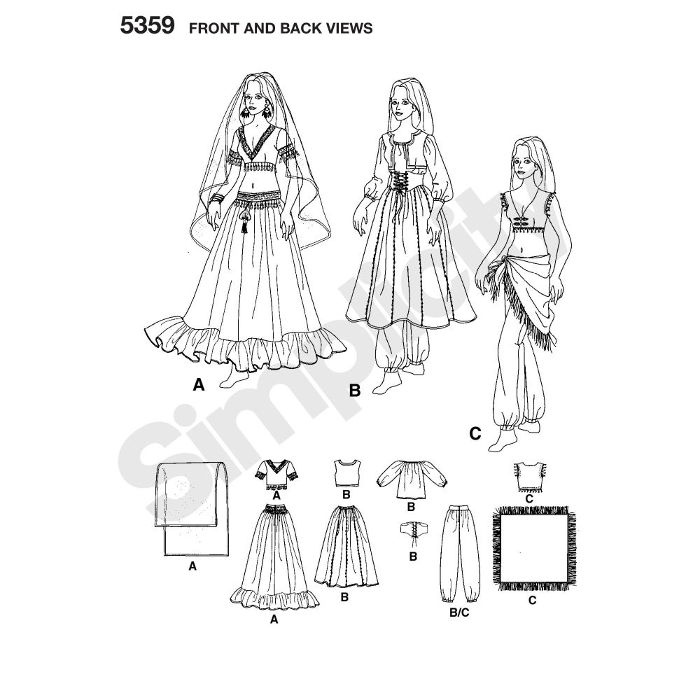 simplicity-costumes-pattern-5359-front-back-view