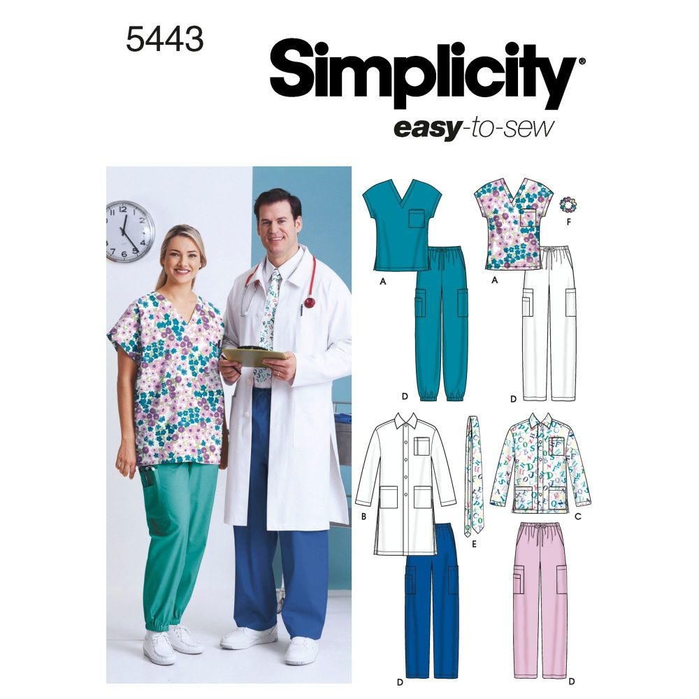 simplicity-unisex-scrubs-pattern-5443-envelope-front