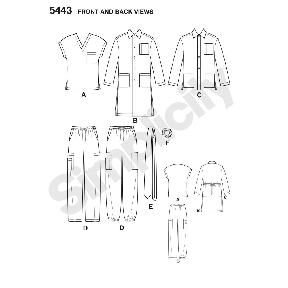 simplicity-unisex-scrubs-pattern-5443-front-back-view