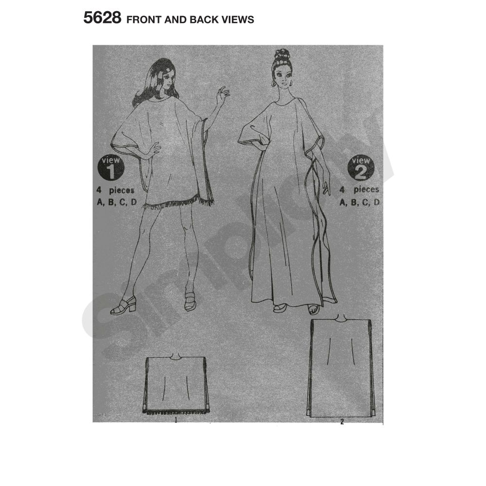 simplicity-vintage-jiffy-caftan-pattern-5628-front-back-view