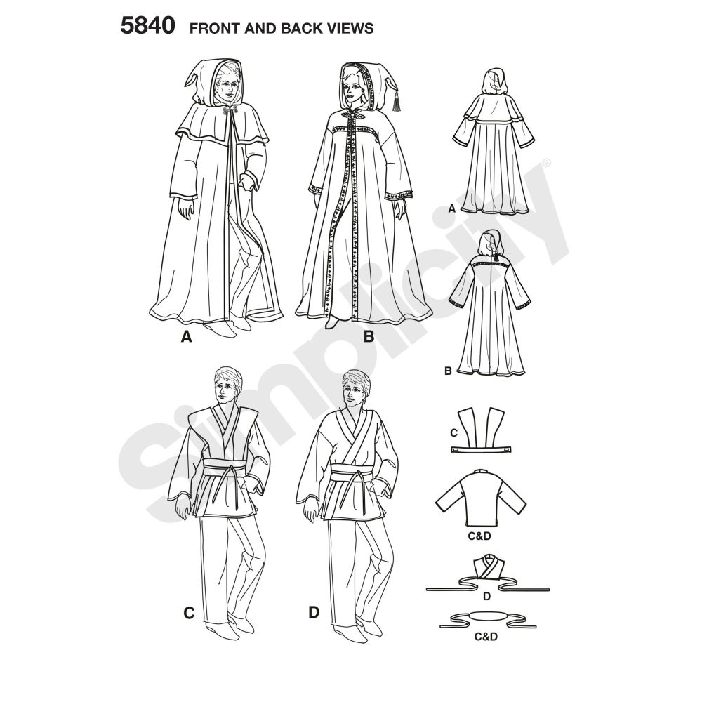 simplicity-costumes-pattern-5840-front-back-view