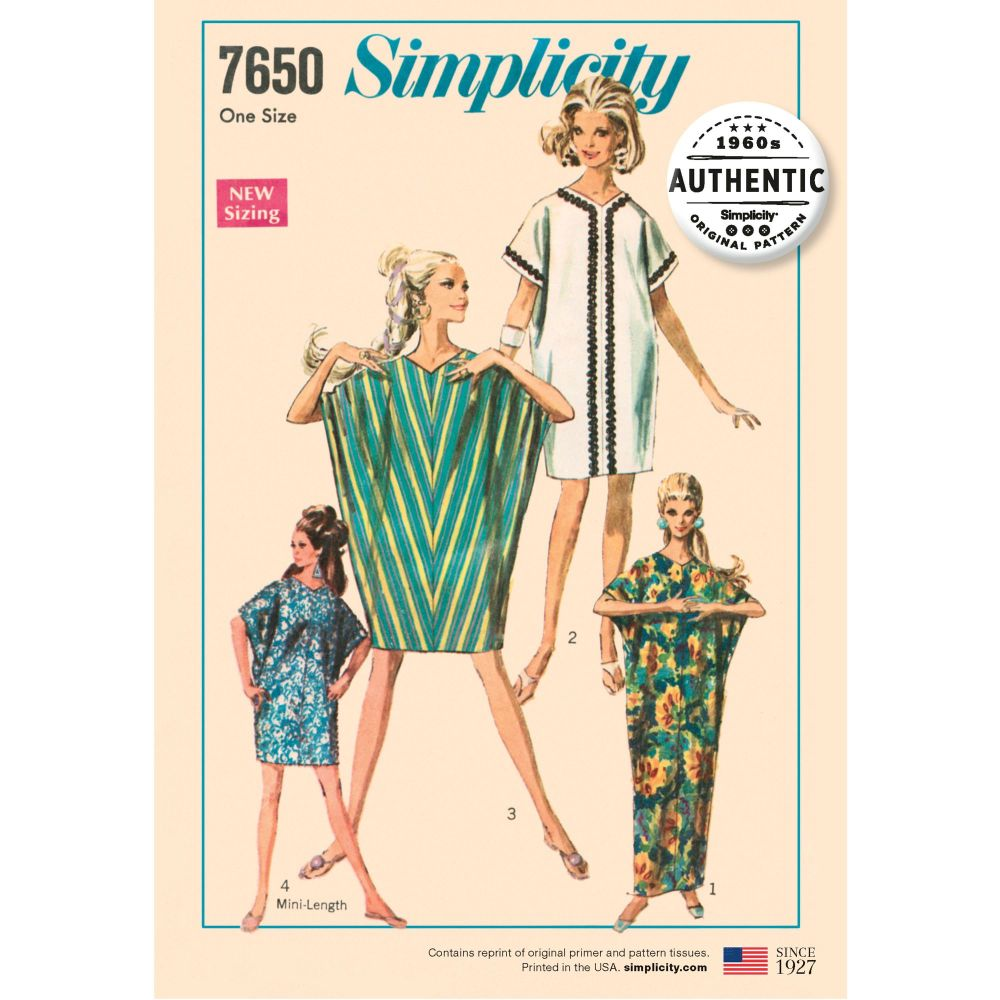 S7650 Simplicity sewing pattern OS (ONE SIZE)
