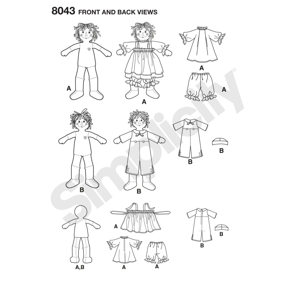 simplicity-stuffed-animals-pattern-8043-front-back-view