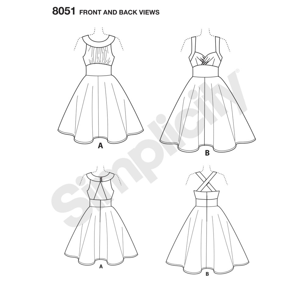 simplicity-dresses-pattern-8051-front-back-view