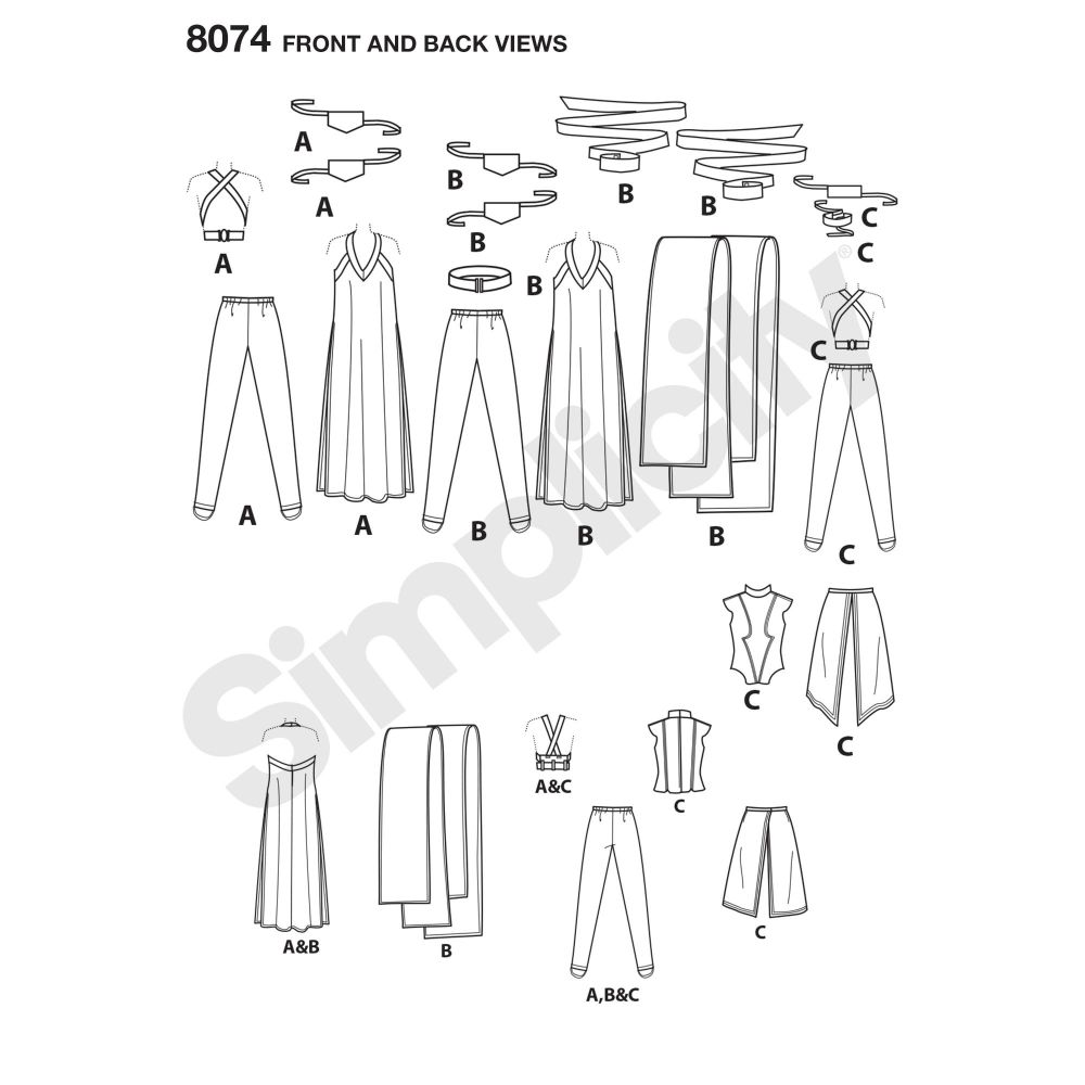 simplicity-costumes-pattern-8074-front-back-view