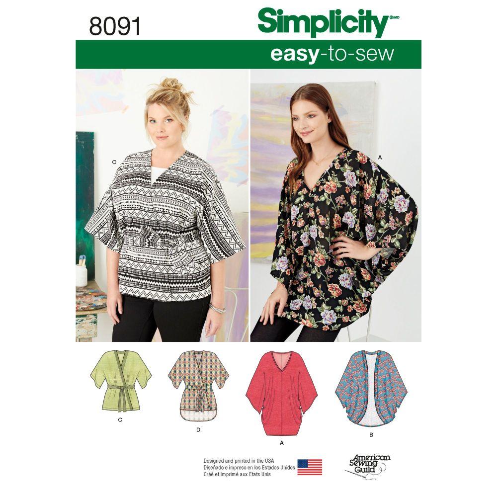 S8091 Simplicity sewing pattern A (XXS-XS-S-M-L-XL-XXL)