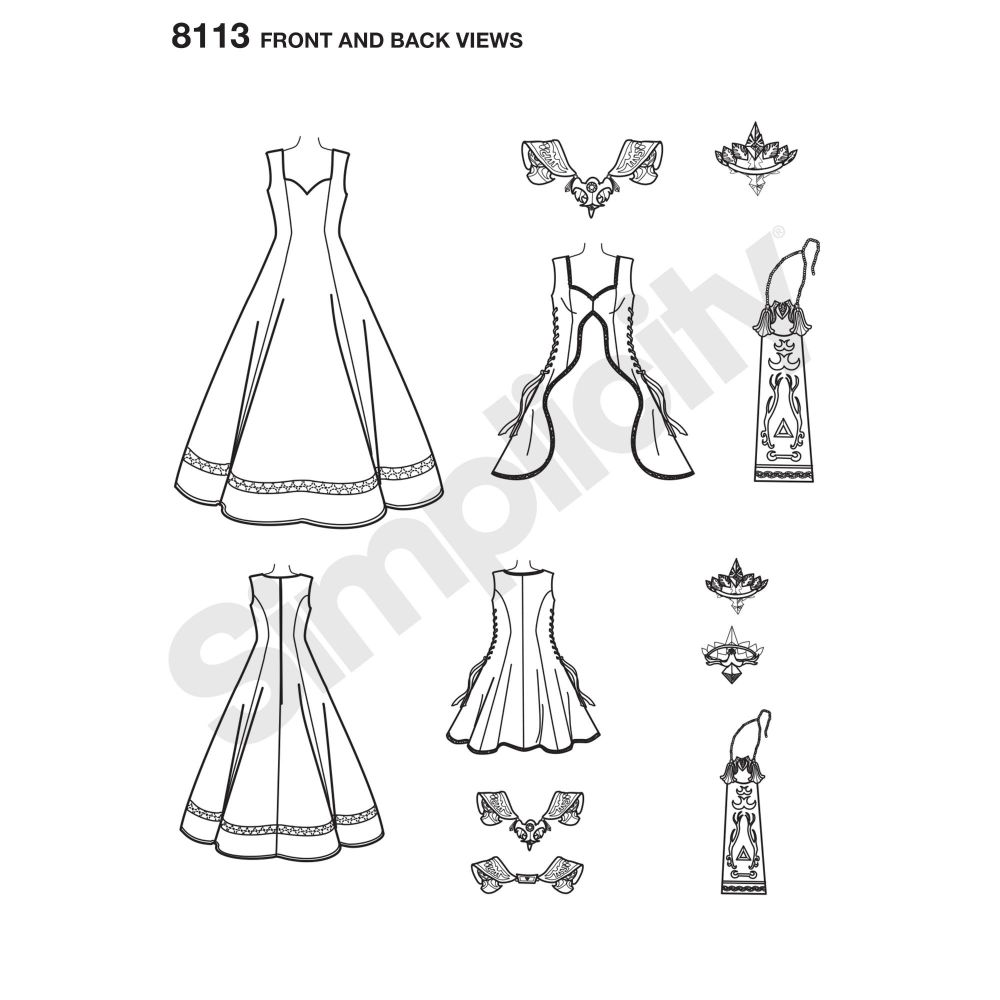 simplicity-costumes-pattern-8113-front-back-view