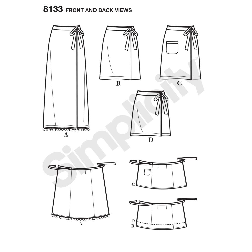 simplicity-skirts-pants-pattern-8133-front-back-view