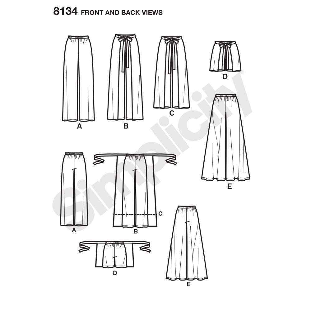 simplicity-skirts-pants-pattern-8134-front-back-view