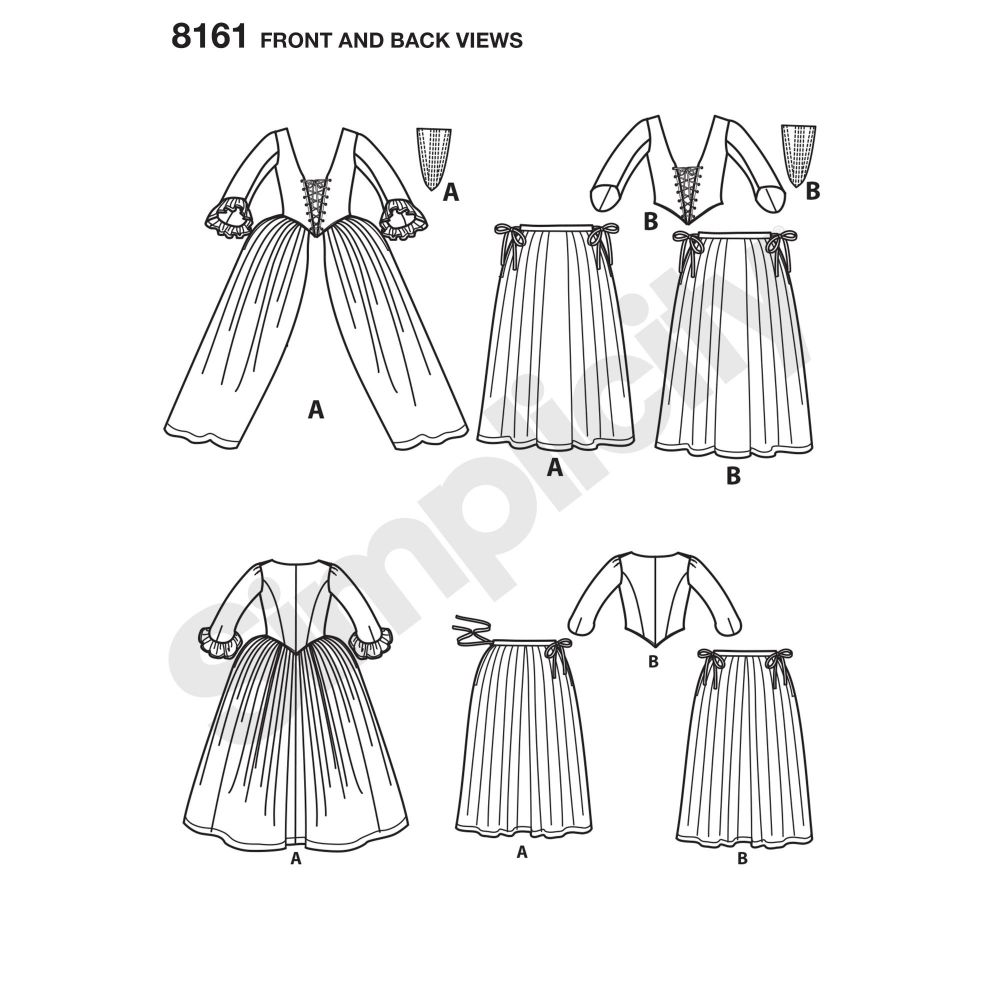 simplicity-costumes-pattern-8161-front-back-view