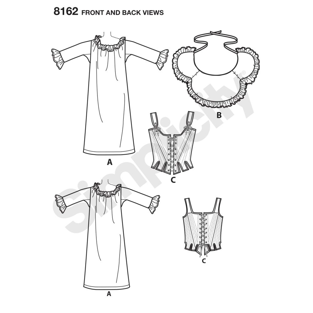 simplicity-costumes-pattern-8162-front-back-view