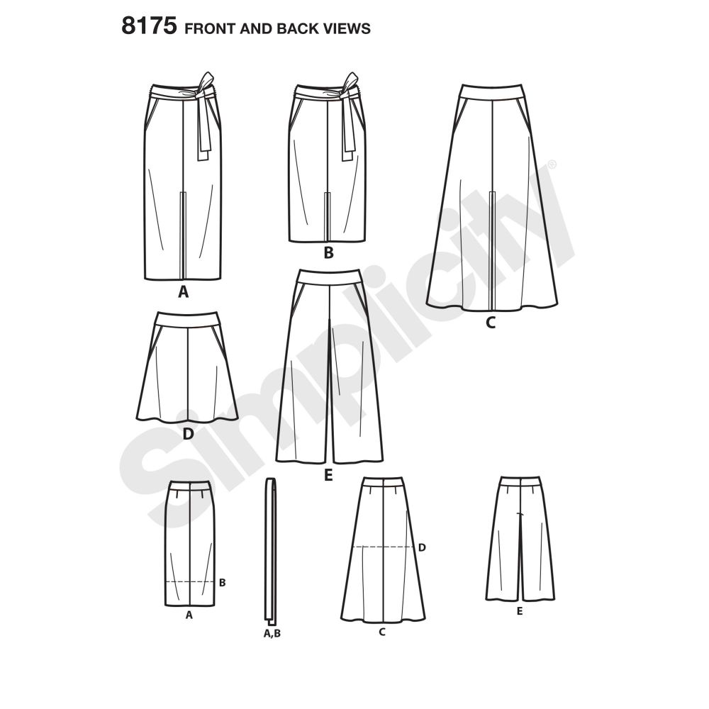simplicity-skirts-pants-pattern-8175-front-back-view
