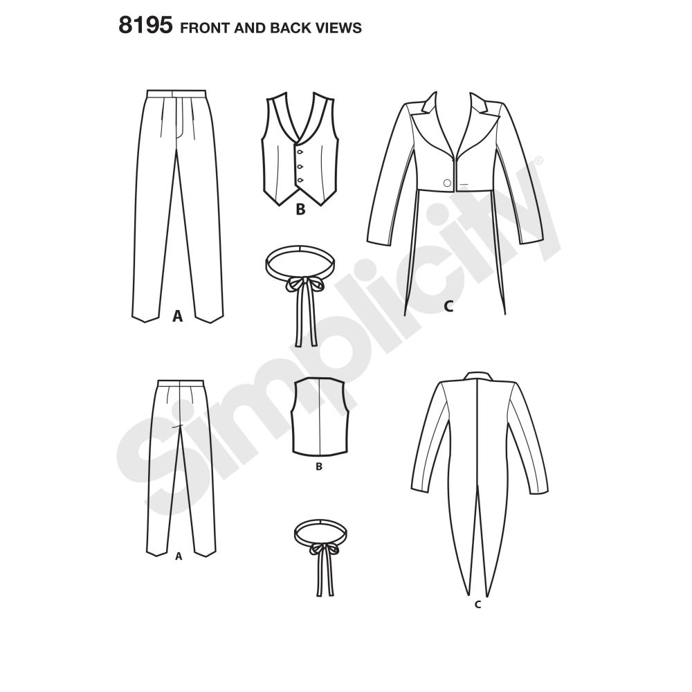 simplicity-costumes-pattern-8195-front-back-view