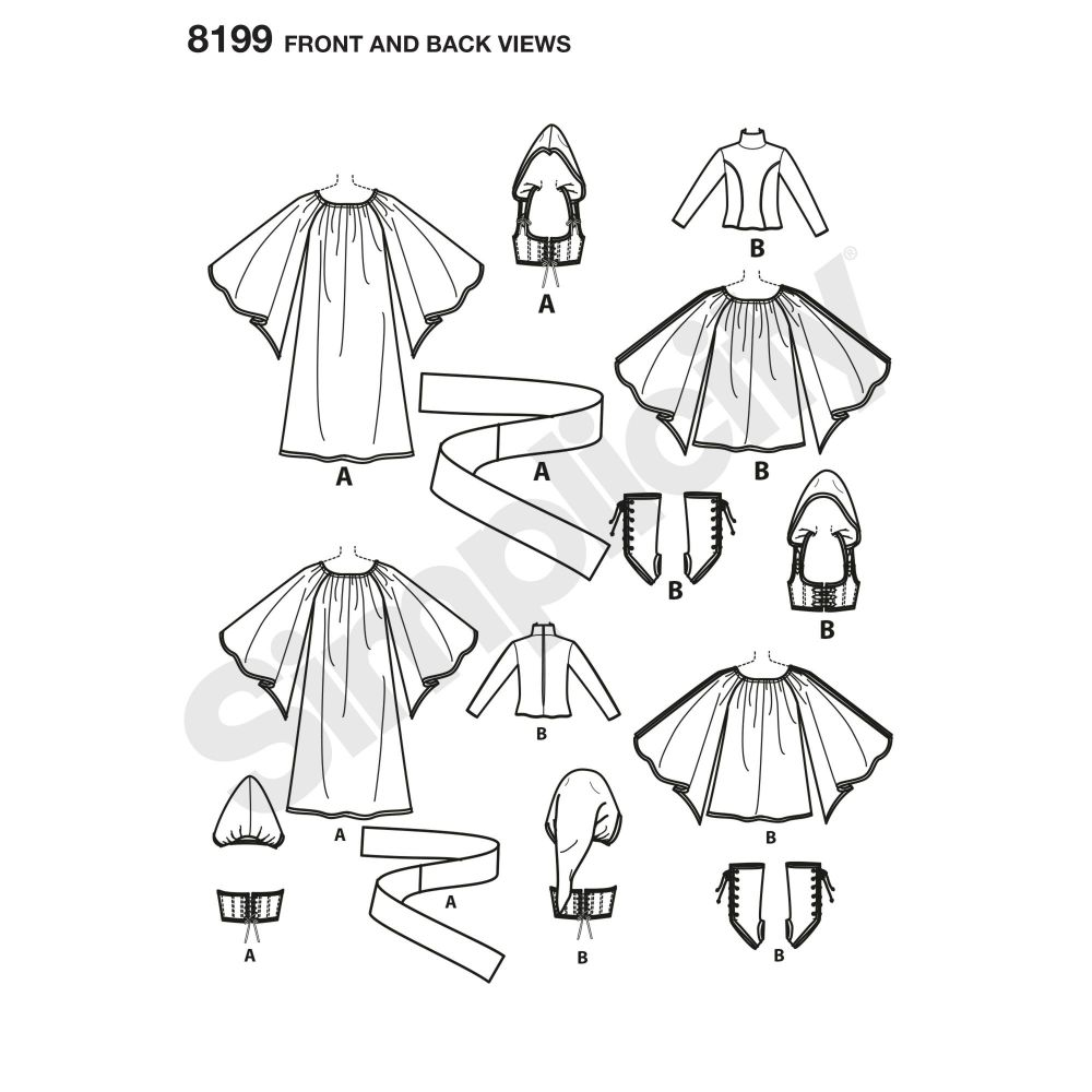 simplicity-costumes-pattern-8199-front-back-view