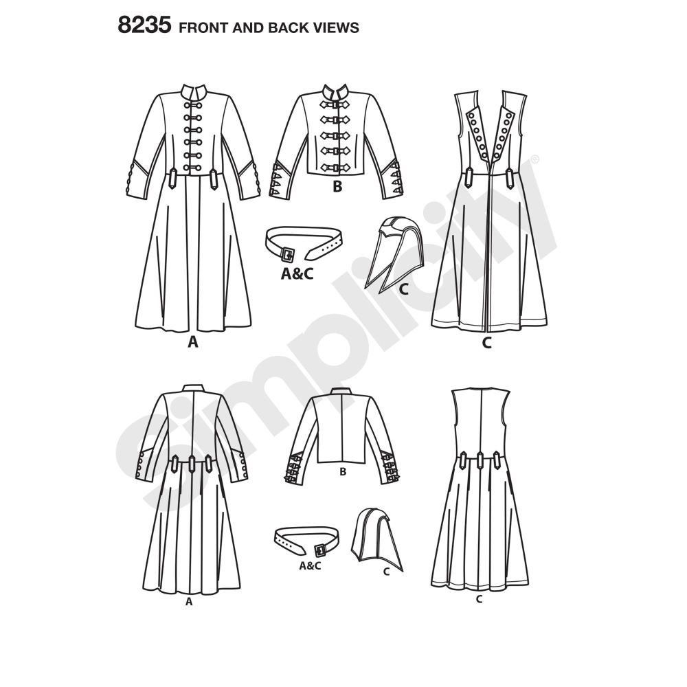 simplicity-costumes-pattern-8235-front-back-view