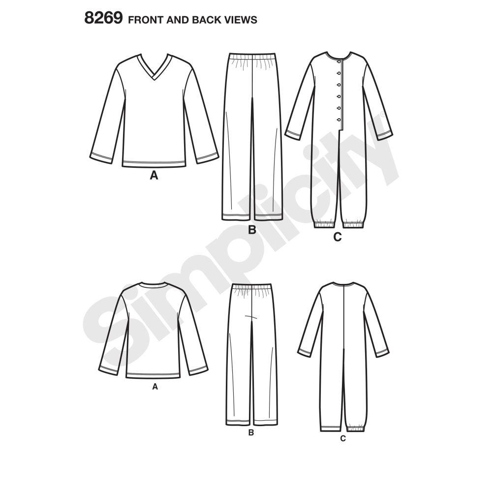 simplicity-sleepwear-pattern-8269-front-back-view