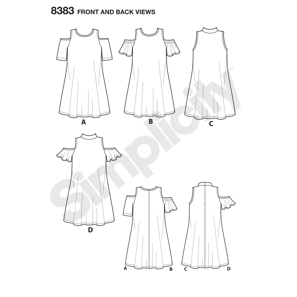 simplicity-cold-shoulder-pattern-8383-front-back-view