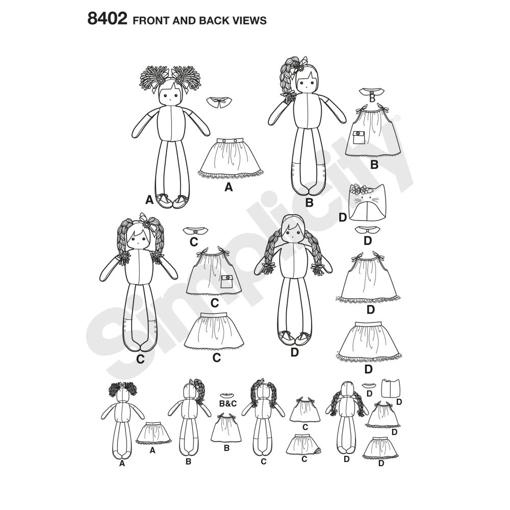 simplicity-stuffed-dolls-pattern-8402-front-back-view