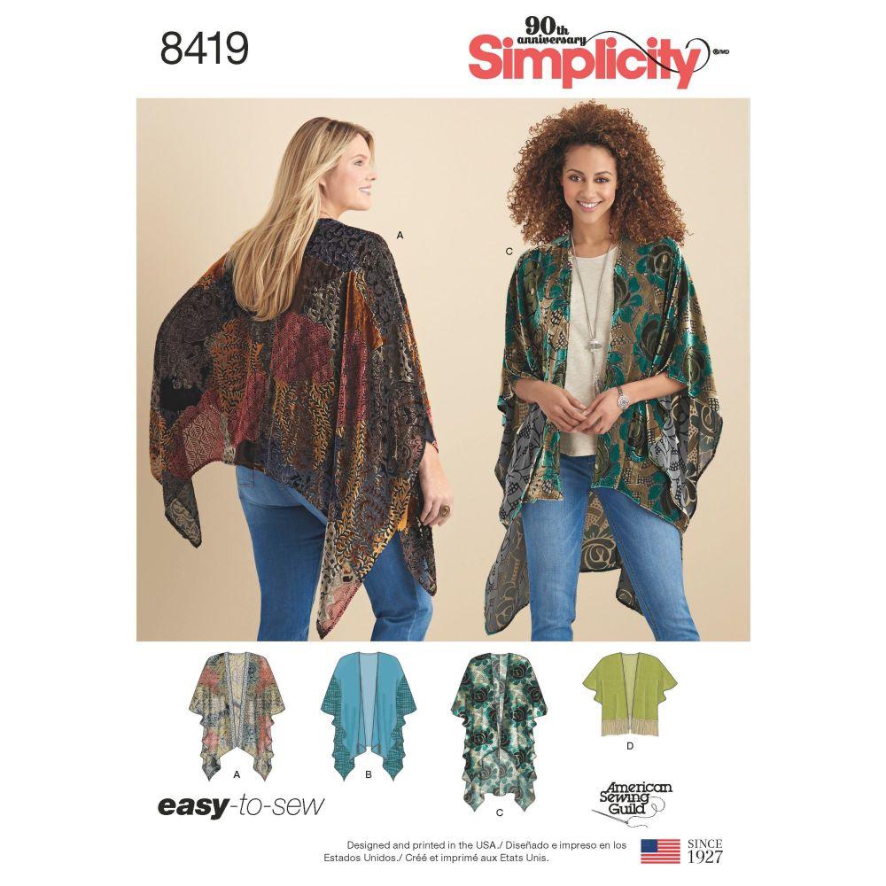 S8419 Simplicity sewing pattern A (XS-S-M-L-XL)