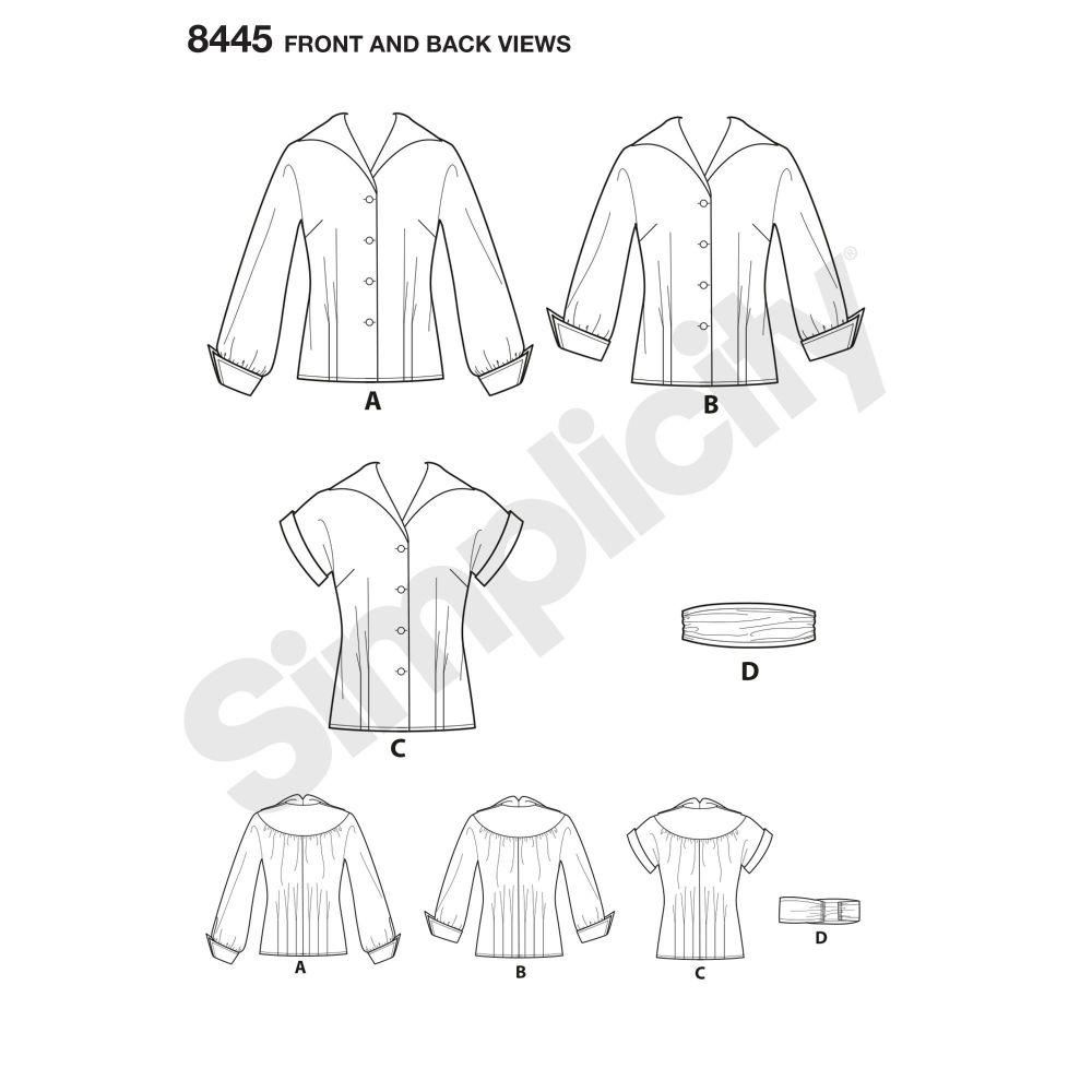 simplicity-vintage-blouse-cummerbund-miss-pattern-8445-front