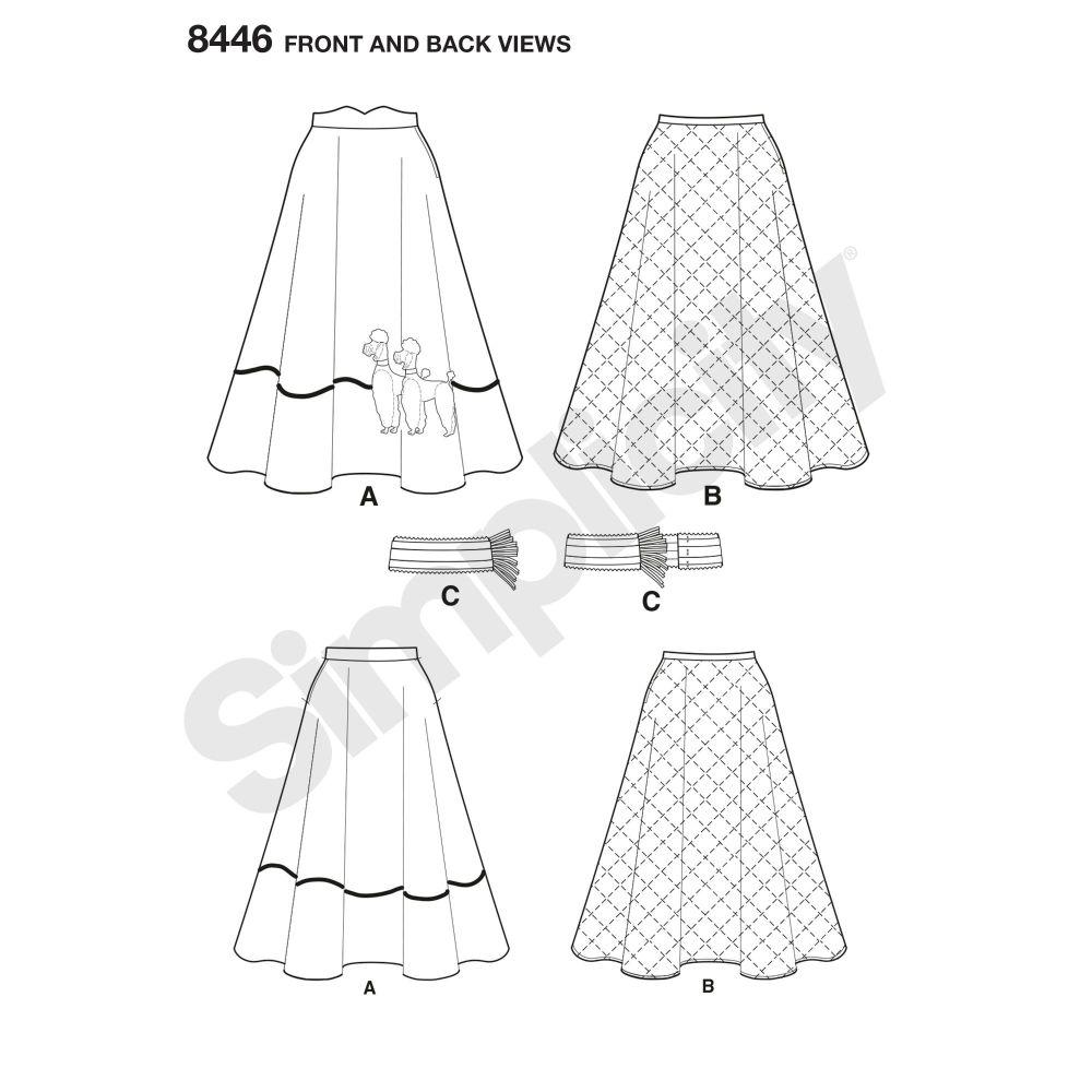 simplicity-vintage-1950s-poodle-skirt-miss-pattern-8446-fron