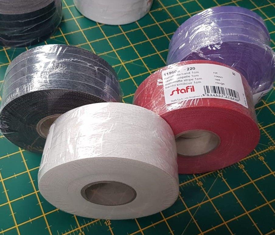 Starfil leatherette strip 5 X 1cm x 10mtr  rolls = 50mtr BLACK