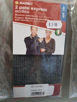 Marbet 2 x cuffs ref 124-032 grigio mel (dark grey)