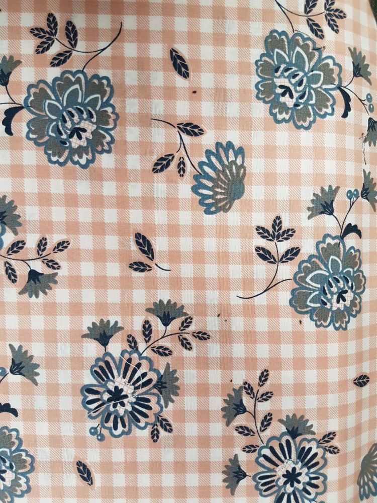 cotton poplin print check flower reference KC0282-002