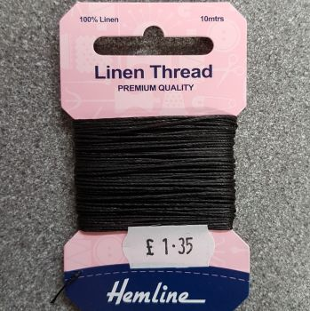 100% Linen thread 10mtr  Hemline premium quality black