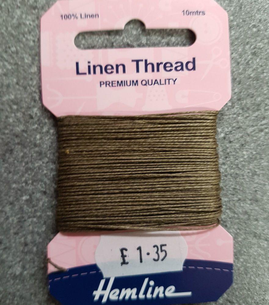 100% Linen thread 10mtr  Hemline premium quality tan