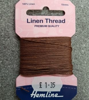 100% Linen thread 10mtr  Hemline premium quality brown