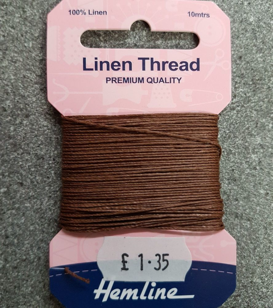 100% Linen thread 10mtr  Hemline premium quality brown