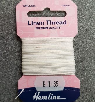 100% Linen thread 10mtr  Hemline premium quality white