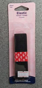 elastic general knitted polyester 25mm x 1mtr black by Hemline