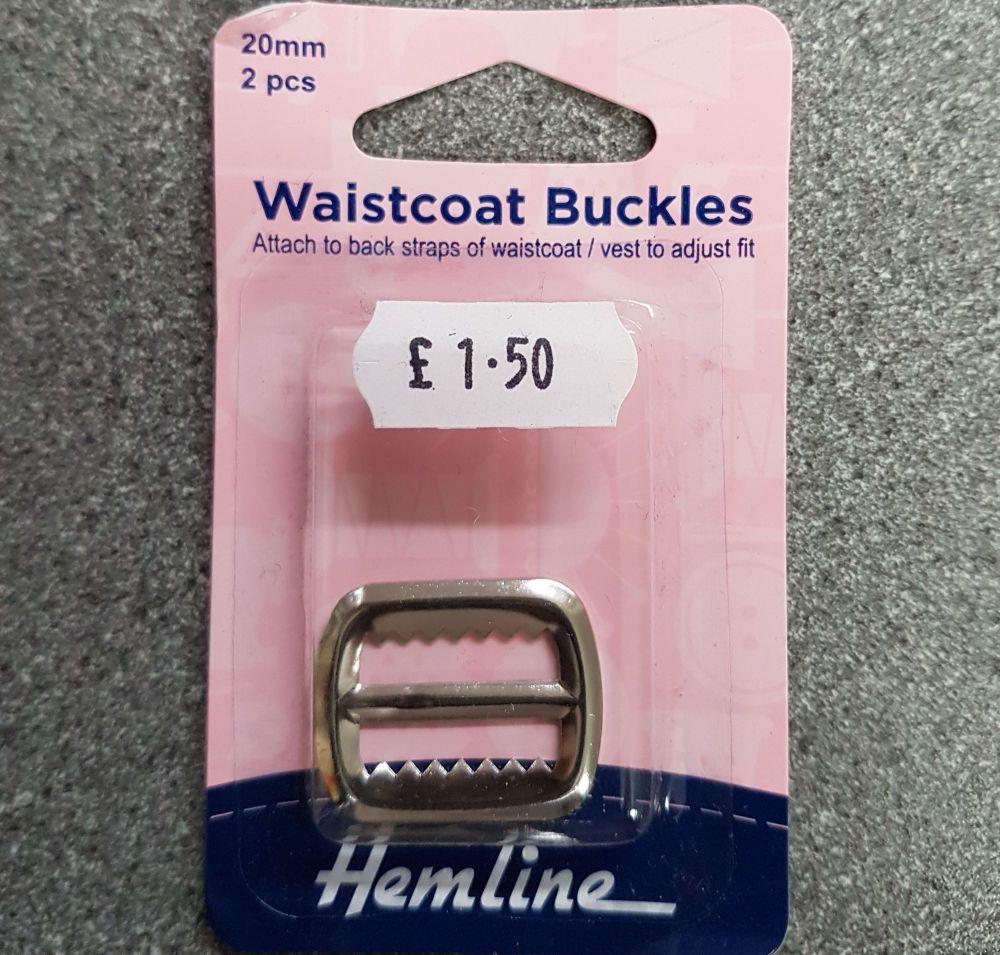 Waistcoat buckles by hemline 20mm x 2 pieces nickel by hemline
