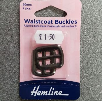 Waistcoat buckles by hemline 20mm x 2 pieces gunmetal by hemline