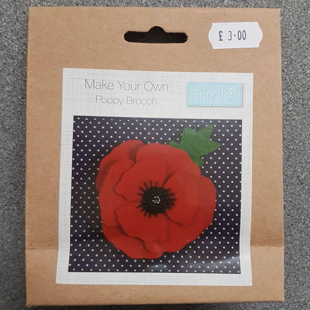 Felting kit make your own Felt poppy brooch by Trimits