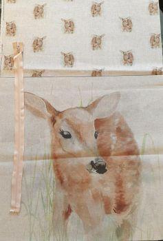 pop art prints linen digital cushion cover panel kit  fawn